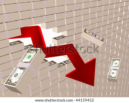 Broken wall with arrow - world financial crisis allegory.