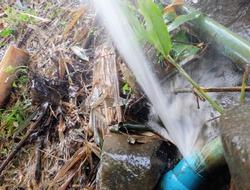 Broken water pipe line in gaden