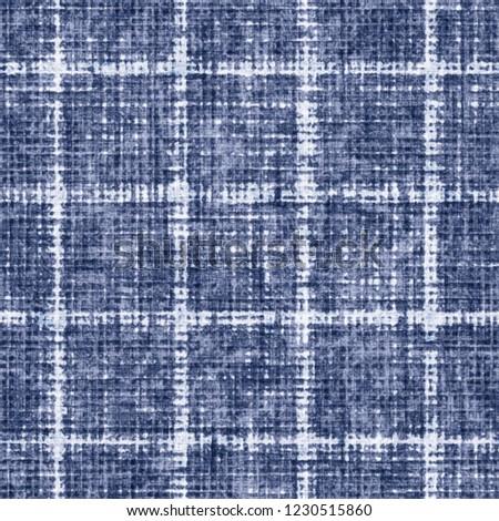 Broken Windowpane Check Indigo-Dyed Effect Textured Background. Seamless Pattern.  #1230515860