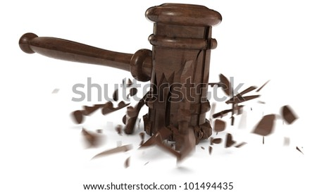 broken wooden hammer, used by judges or on auctions - stock photo