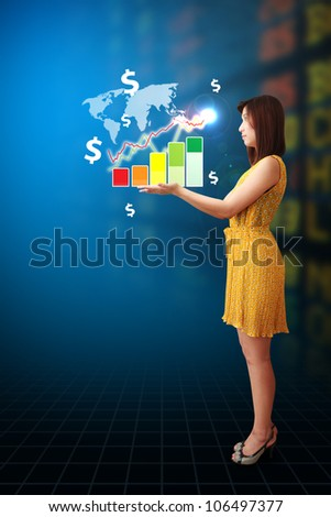 Broker and money icon and graph on hand