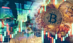 Broker predicts an increase in bitcoin prices. Good investment in cryptocurrencies. Cryptocurrencies as the payment future. Dual exposure of bitcoin coins and stock charts.