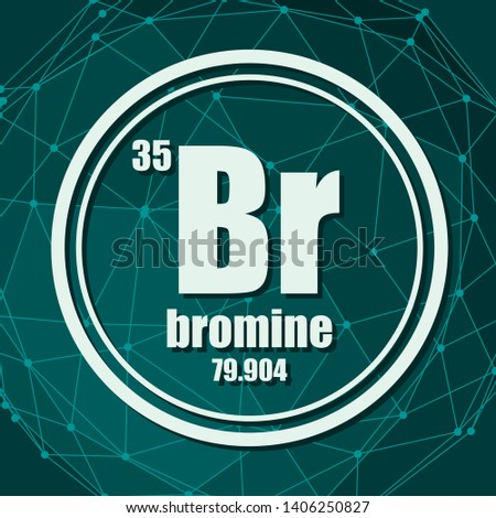 Bromine chemical element. Sign with atomic number and atomic weight. Chemical element of periodic table. Molecule And Communication Background. Connected lines with dots.