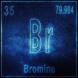 Bromine chemical element, Sign with atomic number and atomic weight, Periodic Table Element