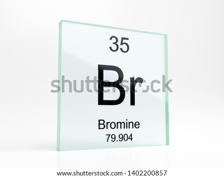 Bromine element symbol from periodic table on glass icon - realistic 3D render