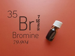Bromine is a chemical element of the periodic table with the symbol Br and atomic number 35. The symbol Br with atomic data and reddish-brown liquid bromine solution in the background.