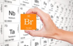 Bromine symbol handheld in front of the periodic table
