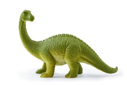 Brontosaurus toy. Isolated on white background with natural shadow. Brontosaur plaything on white bg.