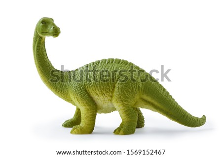 Brontosaurus toy. Isolated on white background with natural shadow. Brontosaur plaything on white bg.  ストックフォト ©
