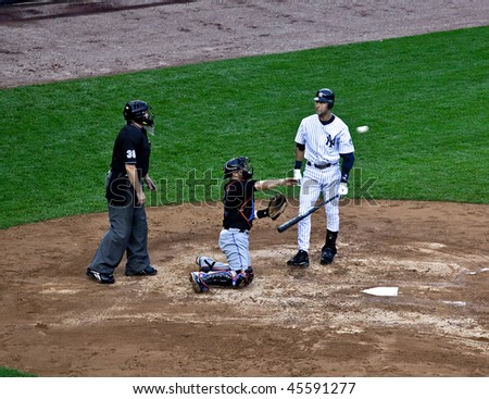 BRONX, NY - JUNE 13: Derek Jeter, the all time Yankee hit leader, argues a called strike on June 13, 2009 in Bronx, NY. The Yankees became World Series Champions in 2009.