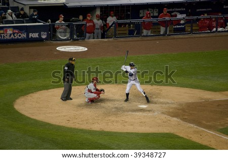BRONX, NY - OCTOBER 17: Alex Rodriguez bats during game 2 of the American League Championship Series at Yankee Stadium on October 17, 2009 in the Bronx, NY.