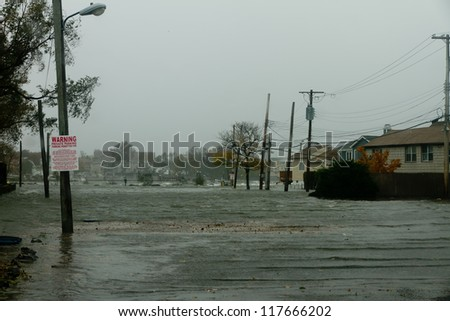 BRONX, NY - OCTOBER 29:  Hurricane Sandy begins it's wrath and starts flooding homes near the water in Bronx, NY, U.S., on Monday, October 29, 2012.