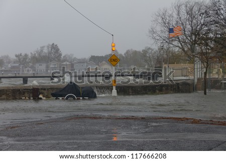 BRONX, NY - OCTOBER 29: Hurricane Sandy begins it's wrath and starts going over the sea wall in Bronx, NY, U.S., on Monday, October 29, 2012.