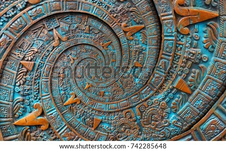 Stock Photo Bronze ancient antique classical spiral aztec ornament pattern decoration design background. Surrealistic abstract texture fractal Aztec spiral background. Bronze color spiral effect. Alien background