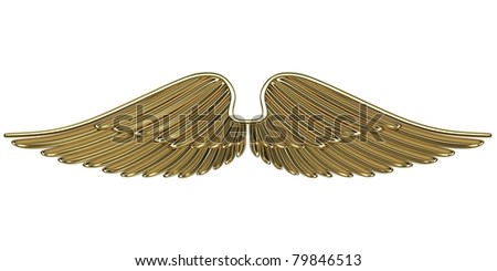 Bronze angel wings isolated on white background.