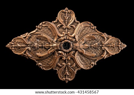 bronze bas-relief outlet on a black background