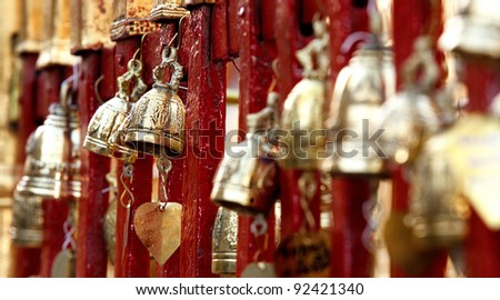 Bronze bells in Doi Suthep buddhist temple in Chiang Mai, Thailand