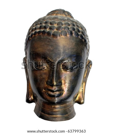 bronze buddha head isolated on white