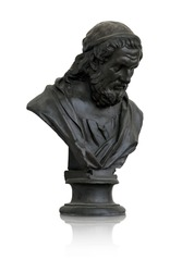 Bronze bust of the ancient Greek philosopher Plato. Design element with clipping path