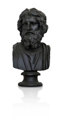 Bronze bust of the ancient scientist (playwright) isolated on white background. Design element with clipping path
