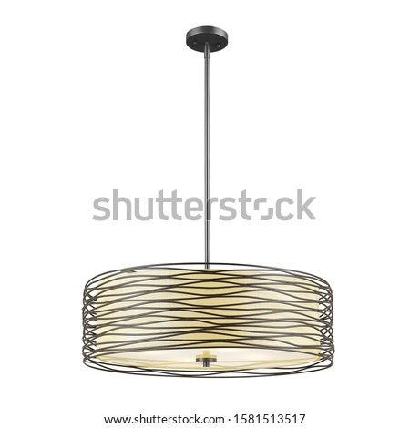 Bronze Chandelier Isolated on White Background. Ceiling Light Oval Pendant Light Fixture. Hanging Lights with Creme Fabric Shade. Modern 3-Light Led Chandelier. Pendant Sconce Lighting Lamp