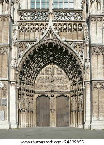 Bronze door entry to famous Vrouwekathedraal - Cathedral of our Lady in Antwerp. More of this motif & more Belgium in my port.