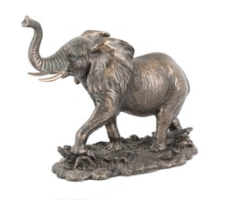 Bronze Elephant statue isolated over white with clipping path.