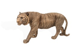 Bronze figurine of a walking tiger isolated on a white background