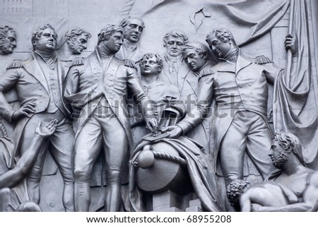 Bronze frieze at the base of Nelson's Column in Trafalgar Square showing a scene from the Battle of Copenhagen in 1801.