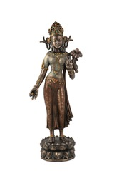 Bronze good Vishnu statue isolated over white with clipping path.