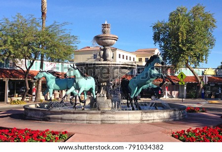 Bronze Horse Fountain on the corner of 5th Avenue in Old Town Scottsdale Arizona on the out skirts of Phoenix