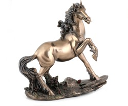 Bronze horse statue isolated over white with clipping path.