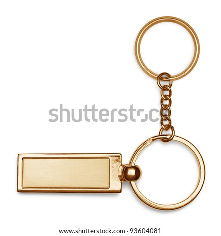 Bronze key chain with chain and rings isolated on white background