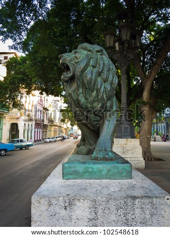 Bronze lion in the boulevard of El Prado in Havana, these statues are a symbol of the cuban capital