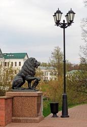 bronze lion on the embankment in Vitebsk