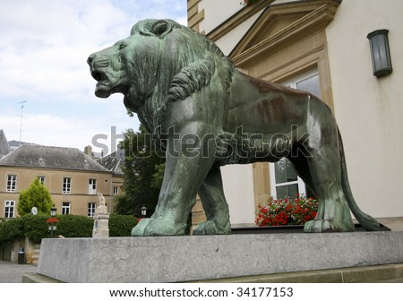 Bronze lion statue at the city hall in Luxembourg City, made in 1931.