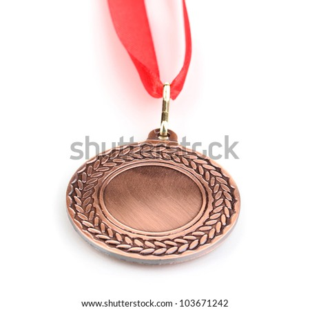Bronze medal isolated on white