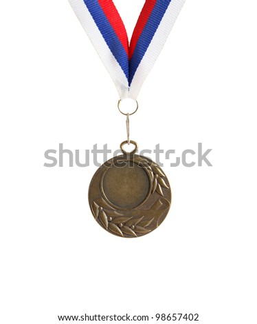 Bronze medal with empty space for text on white background