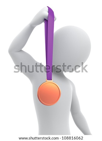 Bronze medalist, 3d image with a clipping path