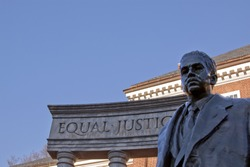 Bronze memorial statue of Thurgood Marshall, the first African American appointed to the U.S. Supreme Court in 1967 in Lawyers' Mall across from the Maryland State House in Annapolis, MD.