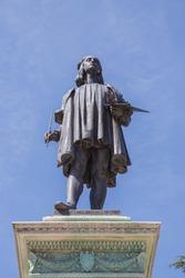 Bronze monument to Raffaello Sanzio.Urbino, Italy.