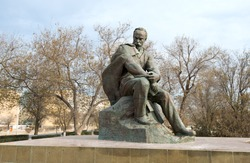 Bronze monument to the famous Ukrainian poet Taras Shevchenko. The monument is located in the city of Aktau in Kazakhstan.