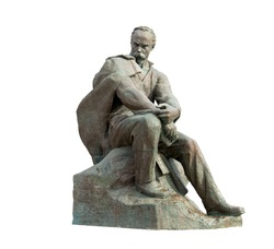 Bronze monument to the famous Ukrainian poet Taras Shevchenko. The monument is located in the city of Aktau in Kazakhstan. Isolated on white background