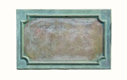Bronze plaque with frame and rusty texture for your text. Blank antique bronze plate with cracks and scratches on the metal surface, isolated on white background.