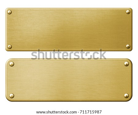 Bronze plates set with rivets isolated 3d illustration with clipping paths included