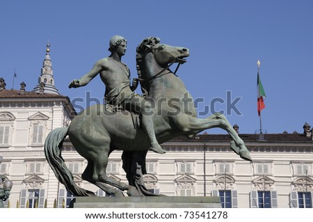 Bronze sculpture in front of the Royal Palace of Turin