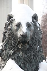 Bronze sculpture of a lion covered with snow