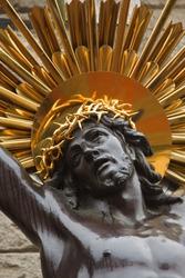 Bronze sculpture of the crucifixion of Jesus Christ
