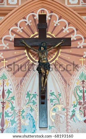 Bronze sculpture of the crucifixion of Jesus Christ in The Roman Catholic Church at  Chanthaburi Province, Thailand. (The Cathedral of the Immaculate Conception)