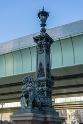 Bronze sculpture the decoration of the lantern of Nihonbashi Bridge in Tokyo, Japan.